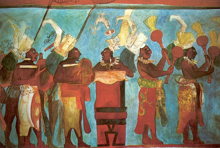 Murals maya and the throne on pinterest for Bonampak mural painting