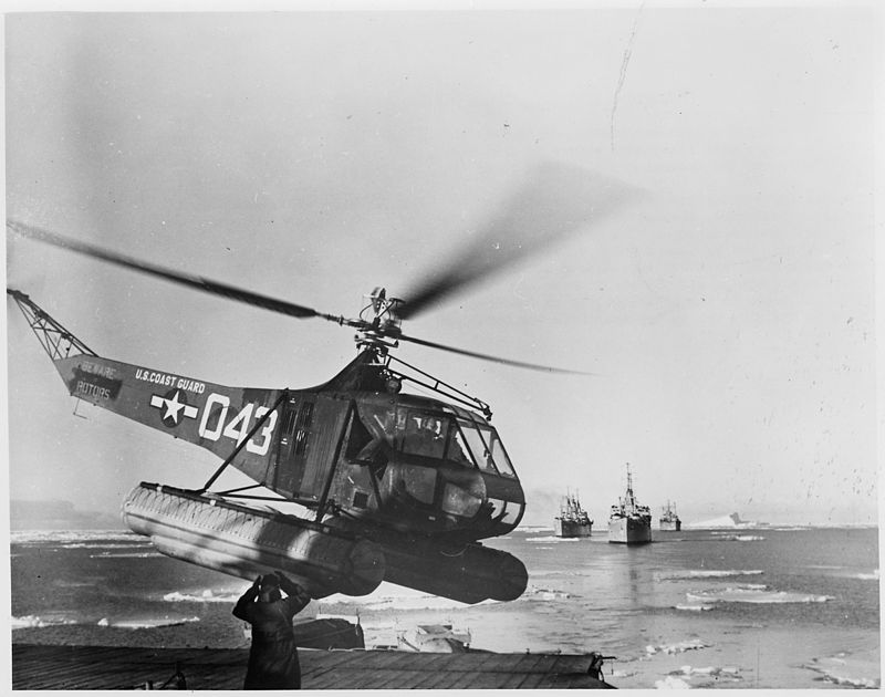 800px-US Navy Antarctic Expedition Helicopter returns from survey of South Pole waters. The Coast Guard helicopter is shown - NARA - 196475